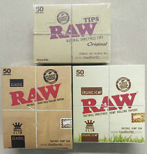 RAW ORGANIC & CLASSIC KING SIZE SLIM ROLLING PAPERS & TIPS  FULL BOX 1X50 CHEAP
