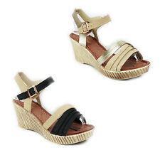 WOMENS LADIES STRAPPY PLATFORM WEDGE HEEL ANKLE STRAP SANDALS SHOES SIZE 3-8