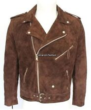 mens BRANDO Brown SLIM FIT Cowhide Suede Classic Motorcycle Real Leather Jacket