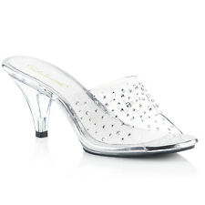 PLEASER FABULICIOUS BELLE-301RS CLEAR KITTEN HEEL MULES SANDALS SHOES