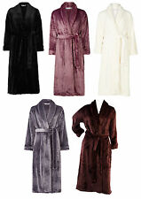 Dressing Gown Super Soft Thick Fleece Ladies Shawl Collar Slenderella Bathrobe