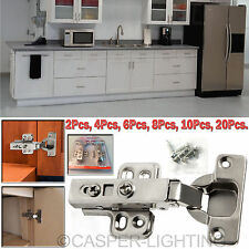 35mm Pair Soft Close Kitchen Cabinet Door Hinges Slow Shut Clip-On Plate +Screws
