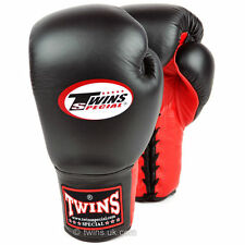 Twins Black-Red Muay Thai Lace-up Sparring Boxing Gloves