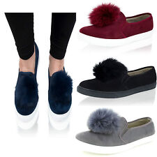 Womens Ladies Pom Pom Suede Slip On Plimsoll Flat Pumps Trainers Shoes Size