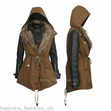 Womens Ladies Hooded Khaki Parka PU Sleeve Faux Fur Jacket Coat UK SIZE 10