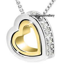 BLACK FRIDAY DEALS Xmas Heart Crystal Diamond Necklace Gold Silver Gifts For Her