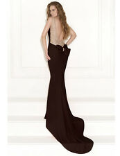 Evening Gown Backless Plus Size Mermaid Long Black Cap Sleeve Prom Formal Dress