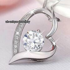 NEW Silver Crystal Heart Necklace Chain Xmas Gifts For Her Girlfriend Love Women