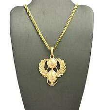 """Gold Egyptian Popular Amulet Scarab Pendant & 24"""" Various Chain Hip Hop Necklace"""