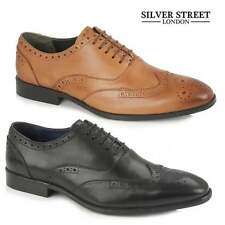 Silver Street London OXFORD Mens Leather Wingtip Brogues Black