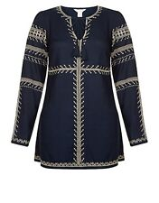 RORY EMBROIDERED LONG SLEEVE NAVY BLOUSE RRP-£39