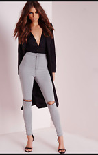 WOMENS HIGH WAISTED GREY RIPPED STRETCHY SKINNY JEANS LADIES JEGGINGS PANTS 6-22
