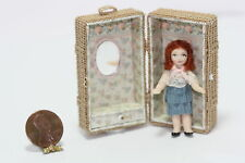 Dollhouse Miniature Red Headed Porcelain Girl in a  Trunk by Patsy Thomas
