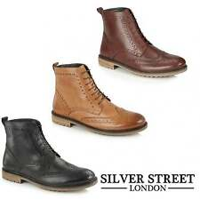 Silver Street London GERRARD Mens Leather Lace Up Wingtip Brogue Derby Boots