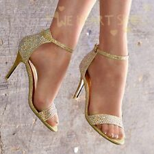 LADIES SPARKLY GOLD DIAMANTE HIGH HEEL PEEP TOE ANKLE STRAP PARTY SANDALS 3-8