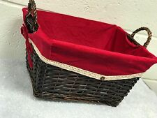 WICKER CHRISTMAS BASKET WITH FESTIVE LINING-3 SIZES AVAILABLE SMALL/MEDIUM/LARGE