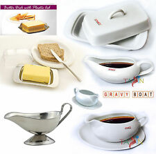 Gravy Boat Butter Dish Dishes with Lid Saucer Tableware Serving Dining Cookware