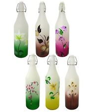 Saisha Hand Painted Glass Milk, Water And Juice Bottle With Air Tight Swing Cap