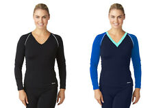 Bohn Swimwear Karinie V-Neck Swim Top Long Sleeve Black & Blue 08-24 Plus Sizes