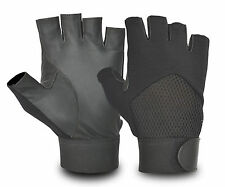 REAL LEATHER MEN'S CYCLING GLOVES BICYCLE MOTORBIKE CAR DRIVING HALF FINGER