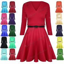 New Ladies 3/4 Sleeves Belted V Neck Franki Womens Mini Flared Skater Dress Top