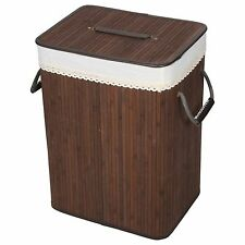 Folding Bamboo Laundry Washing Basket Clothes Linen Storage Hamper Bin with Lid