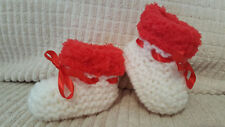 BABY GIRLS RED/CREAM HAND KNITTED ARAN BOOTS / BOOTIES - EB  -  12-18 MONTHS