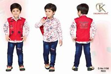 Kids Party wear Boys clothing Cotton 3 peace Shirt Jacket Pants Suit No-1156 Red