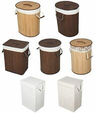 Laundry Hamper Basket Bamboo, Fabric Wicker Clothes Storage Organizer Lid