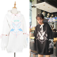 Autumn Rabbit Printed Lace Up Hoodies Sweatshirt Women Casual Loose Long Sleeve