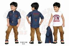 Kids Party wear Boys clothing 3 peace Cotton Shirt & Khaki Stretch Pants Suit