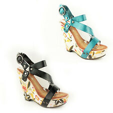 WOMENS LADIES FLORAL STRAPPY PLATFORM HIGH WEDGE HEELS SANDALS SHOES SIZE 3-8