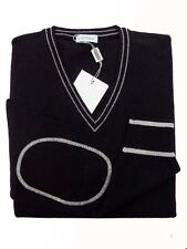 Andrea Fenzi Sweater:  Navy with white trim, V-neck with elbow detail, wool/cash