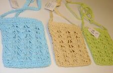 Slim Crocheted bag blue or beige new with zipped top BNWT