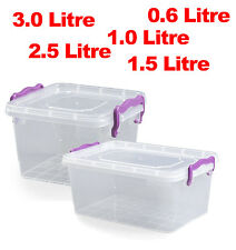 Small Medium Large Clip Lock Handle Plastic Clear Storage Food Box Container