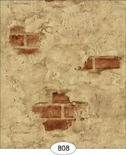 Dollhouse Wallpaper Weathered Plaster Brick in Red