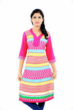 Casual Wear Pure Cotton Rayon Printed Straight Medium Women Ready Made Kurti Top