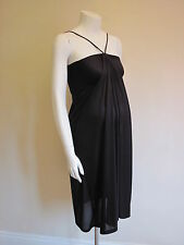 BNWT PICCHU MATERNITY DESIGNER BLACK SATIN GRECIAN EVENING PARTY DRESS SIZE 8