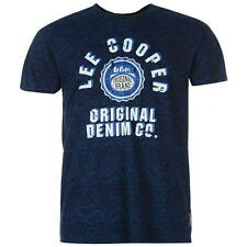 Lee Cooper Mens All Over Print Large Logo T-Shirt Navy New With Tags