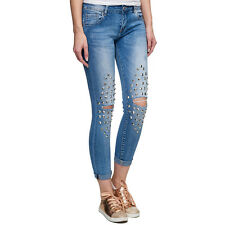 isley Skinny Damen Jeans Destroyed Nieten Cropped Jeans Stretch A0692