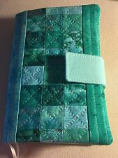 Fabric Book Cover, Paperback, Kindle - Quilted Patchwork, Variations of Green