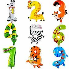 children Cute Cartoon Animal Number Balloon Digital Aluminium Foil Balloons 0-9