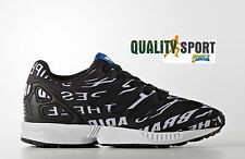 Adidas ZX Flux C Nero Stampa Scarpe Bambino Sportive Sneakers Shoes BB2424