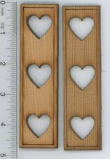 Dollhouse Miniature 1:12 Scale Stained Wood Shutters w/Heart Design
