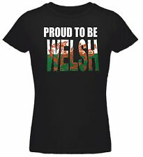Ladies Fitted Proud To Be Welsh T-Shirt,Put name on the back for FREE.