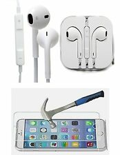 Combo Iphone Handsfree earphones with Tempered Glass, high quality 3.5mm jack