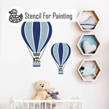 Furniture Wall Craft Stencil - Stripe HOT AIR BALLOON Nursery Boys Bedroom