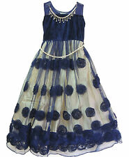 Beige and blue designer Girls frock size 24-32 with golden color chains