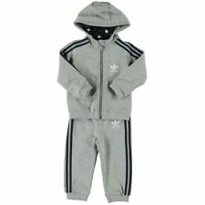 Infants Adidas Originals Tracksuit Hoodie Top Bottoms Grey Baby Sizes 0M-4Y NEW