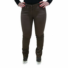 Pantalone donna aderente jeans marrone con tasche woman brown jeans